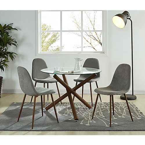 Lyna Solid Wood Walnut Parson Armless Dining Chair with Grey Polyester Seat - (Set of 4)