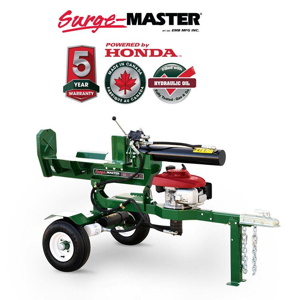 Surge Master Scie à bois horizontale et verticale, moteur Honda GC160, coupe de 24 po, 20 tonnes