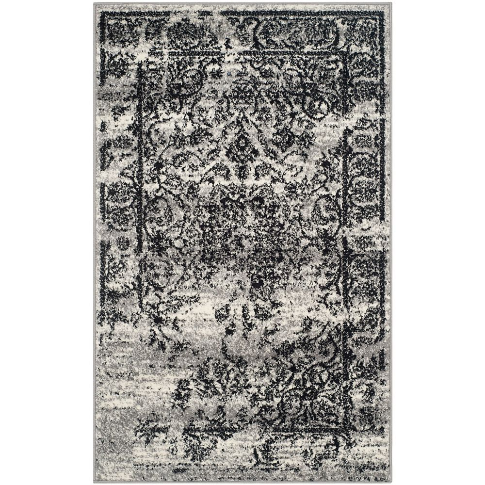 Safavieh Carpette d'intérieur, 2 pi 6 po x 4 pi, style traditionnel, rectangulaire, argent Adirondack
