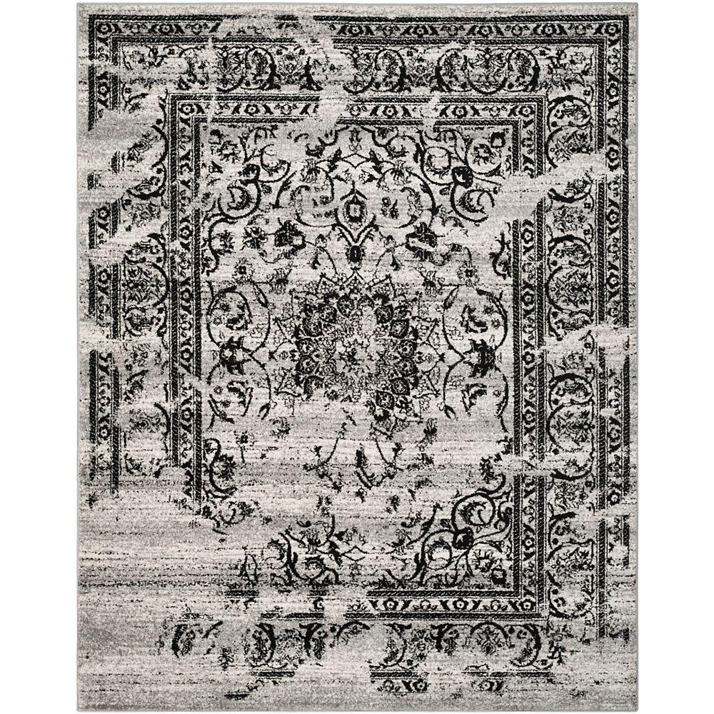Safavieh Carpette, 8 pi x 10 pi, argent/noir Adirondack