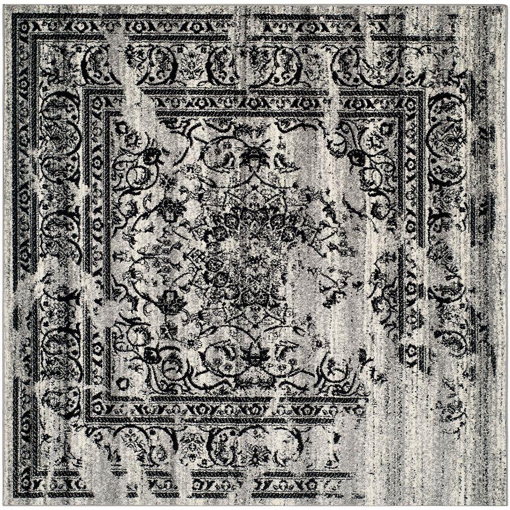Safavieh Carpette d'intérieur, 8 pi x 8 pi, style traditionnel, carrée, argent Adirondack ,