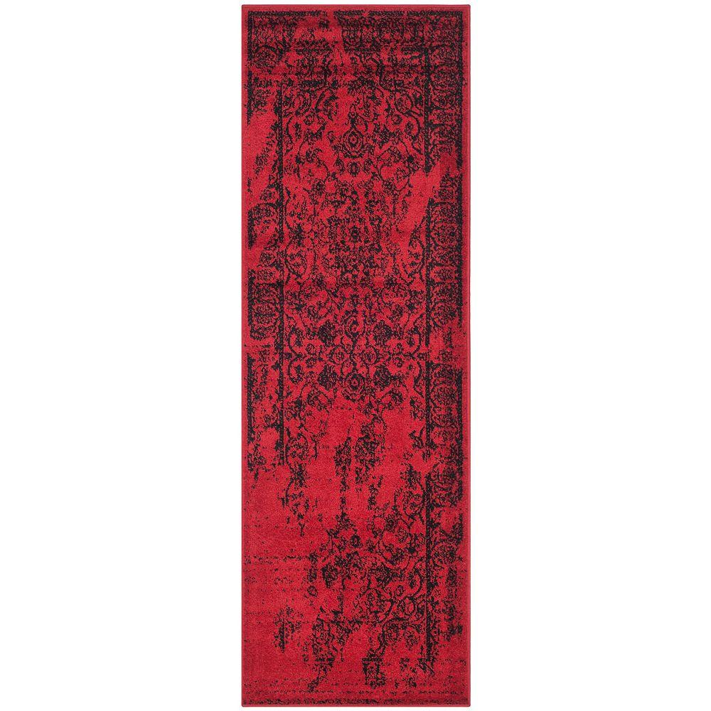 Safavieh Tapis de passage d'intérieur, 2 pi 6 po x 16 pi, style traditionnel, rouge Adirondack