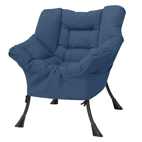 HDG 31.5-inch W X 27.1-inch L X 33.8-inch H Compact Cozy Polyester & Steel Patio Chair in Blue Grey