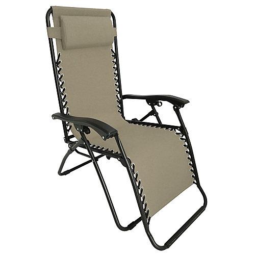 Chaise longue Gravity à positions multiples, 35,4 po x 25,5 po x 44,4 po, beige