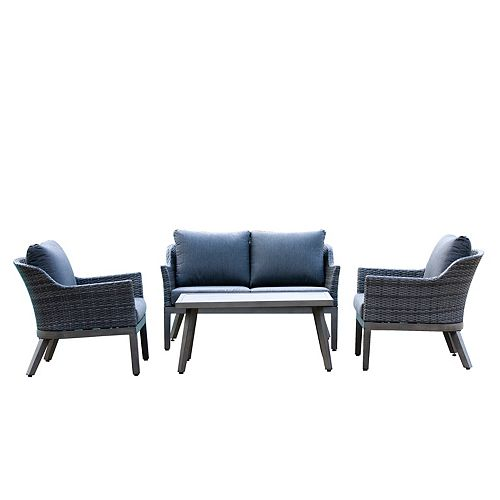 Crown View 4-Piece Wicker Outdoor Patio Conversation Set with Grey Cushions