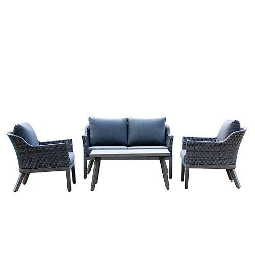 Hampton Bay Crown View 4-Piece Wicker Outdoor Patio Conversation Set with Grey Cushions
