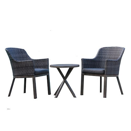 Crown View 3-Piece Two-Tone Grey Wicker & Steel Patio Bistro Set with Grey Seat Pad