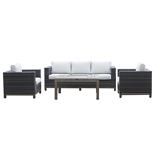 Ann Arbor 4-Piece All-Weather Wicker Patio Chat Set with White Cushions