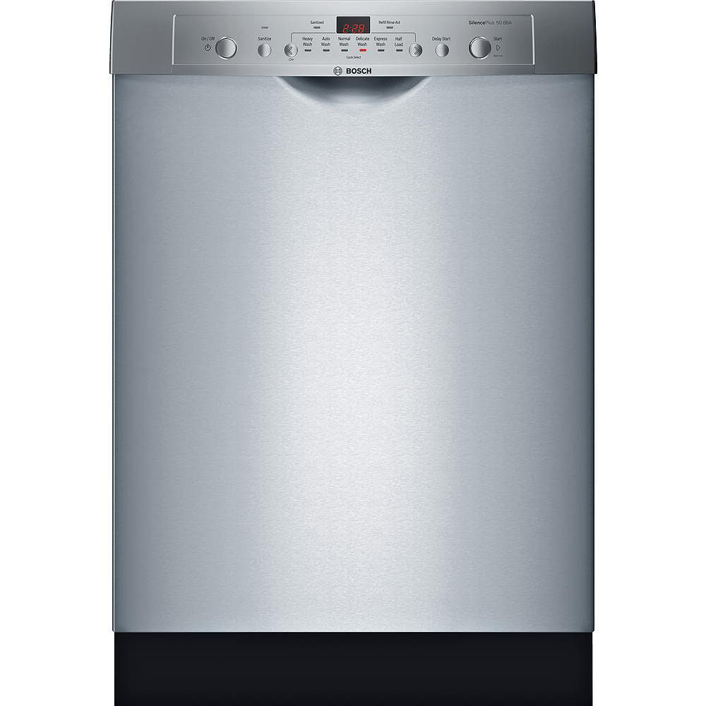Bosch Ascenta 24-inch Front Control  Dishwasher in Stainless Steel, 50dBA, Anti-Fingerprint