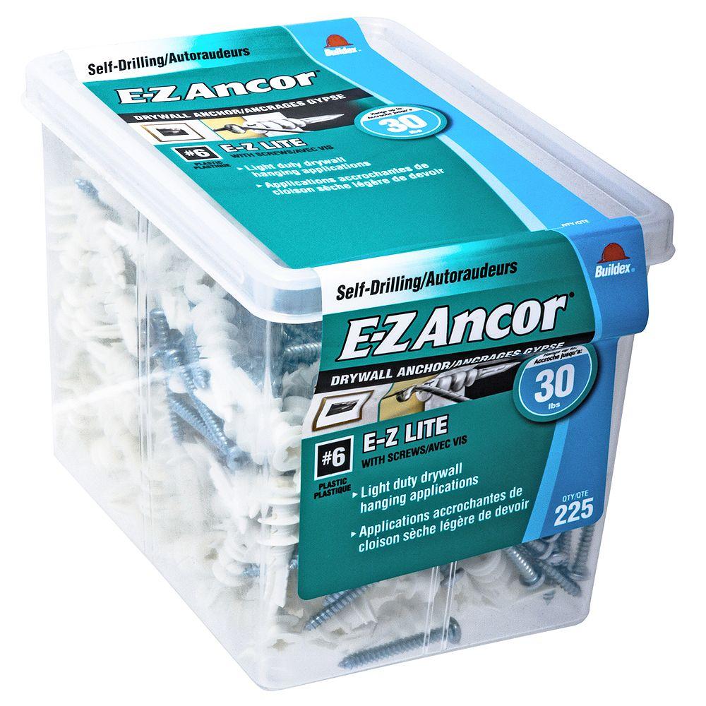 E-Z Ancor® #6 E-Z Lite(R) Self-Drilling Drywall Anchor in Nylon with Screw - 225 pcs