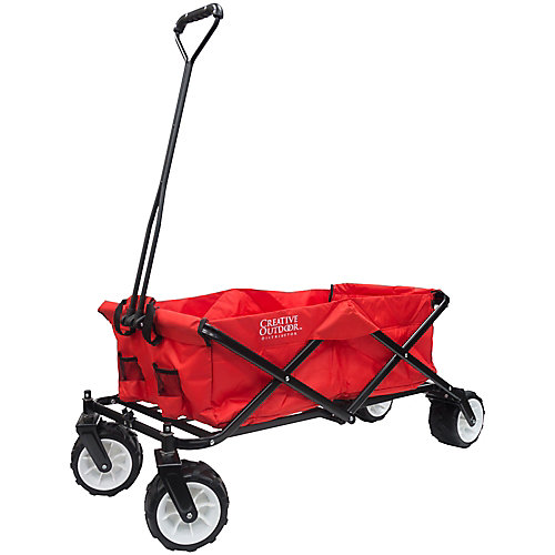 All-Terrain Big Wheels Folding Wagon in Red & Black