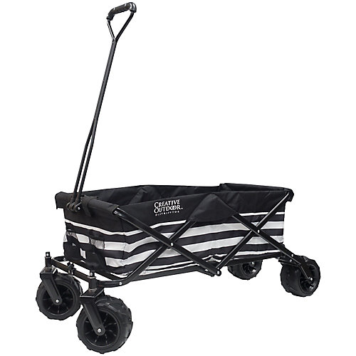 All-Terrain Big Wheels Folding Wagon in Black & White Stripes