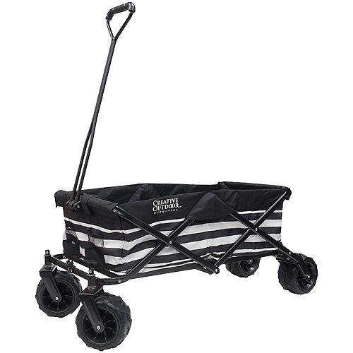 Creative Outdoor All-Terrain Big Wheels Folding Wagon in Black & White Stripes