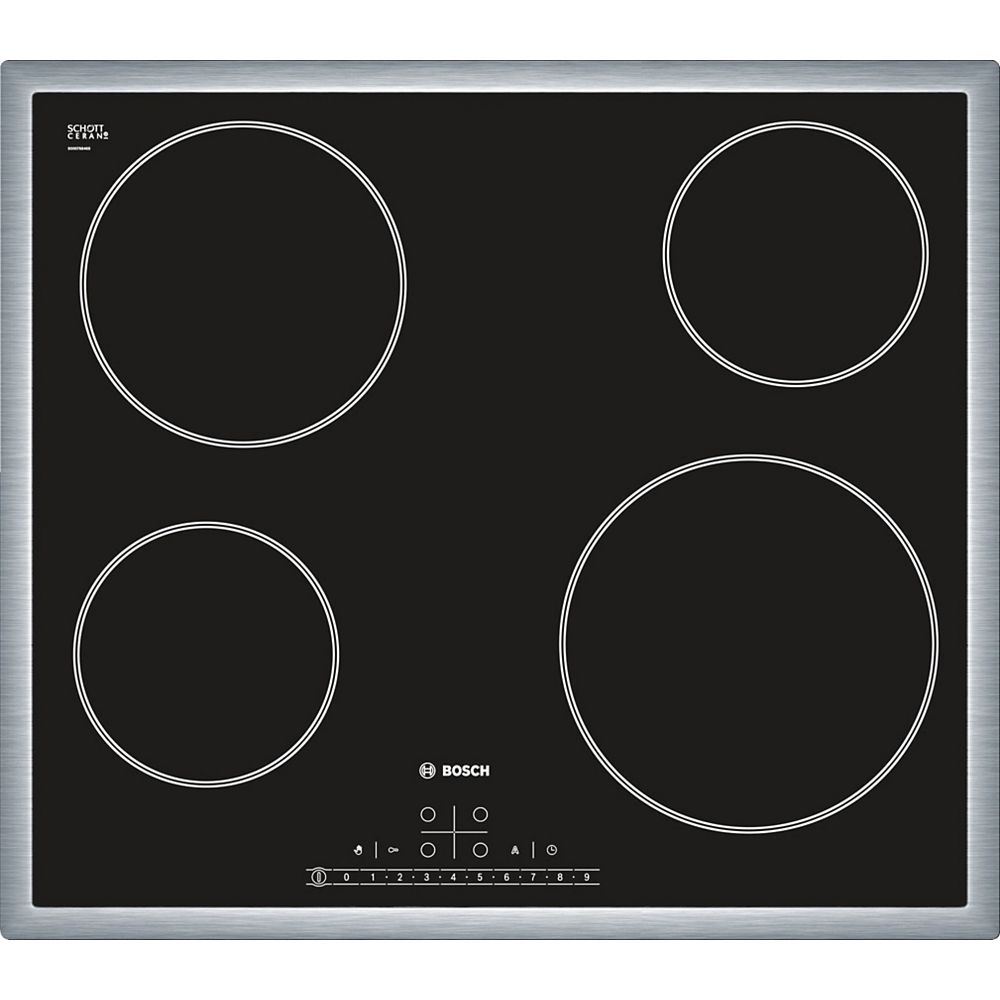 Bosch 500 Series - 24 inch Electric Cooktop - Black w/ Stainless Steel Frame Design