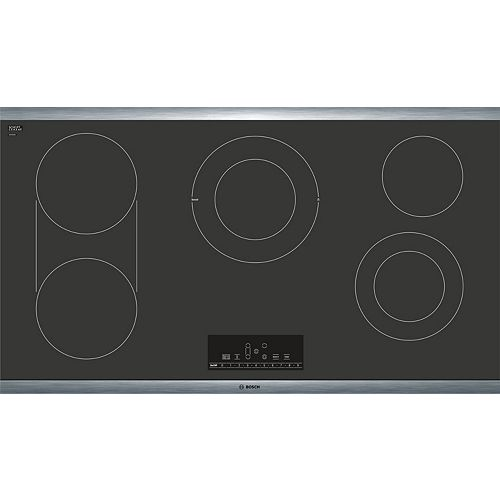 Bosch 800 Series - 36 inch Electric Cooktop - Black with Stainless Steel Frame
