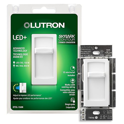 Skylark Contour LED+ Dimmer Switch for Dimmable LED/Hal/Incand Bulbs, Single-Pole, White