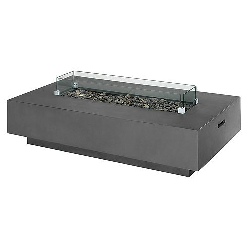 Faux Concrete Fire Rectangle Table with Glass Shields