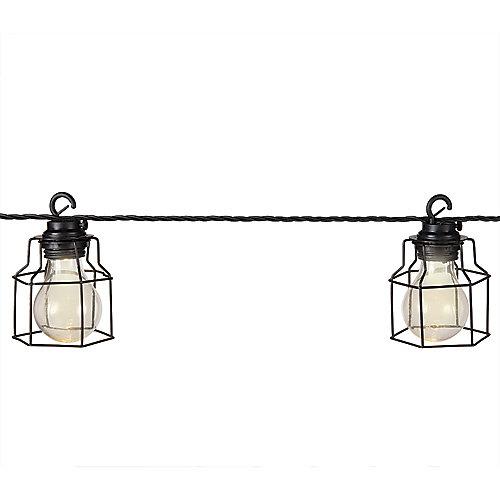 Guirlande lumineuses à DEL avec 10 ampoules en cage métallique, 10,5 pi
