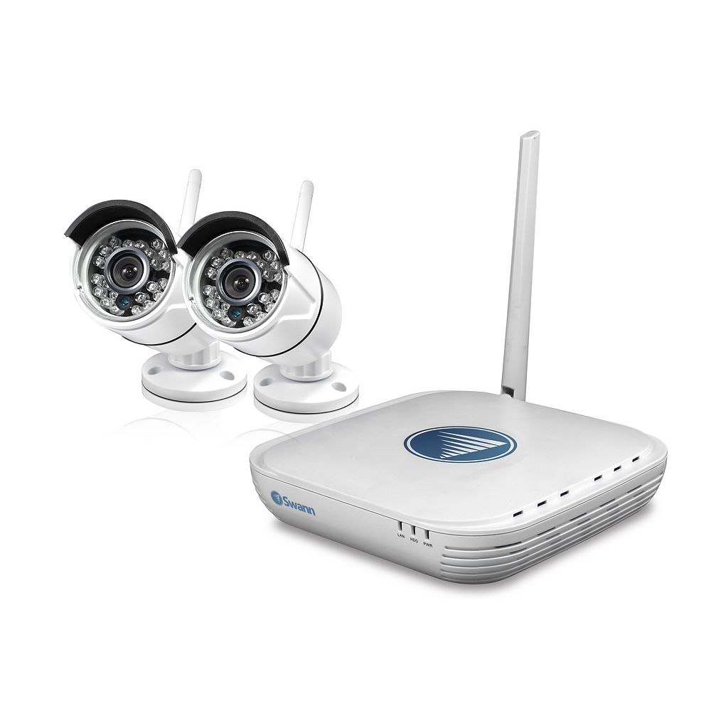 Swann Ensemble de 2 caméras avec système de surveillance NVR à 4 canaux, 720P, 500GB, wifi micro