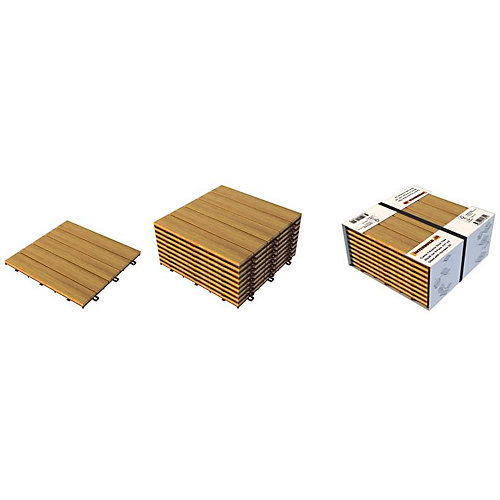 12 inch x 12 inch x 0.5 inch Acacia Wood Modular Deck Tiles (10-Pack, 100 square foot coverage)