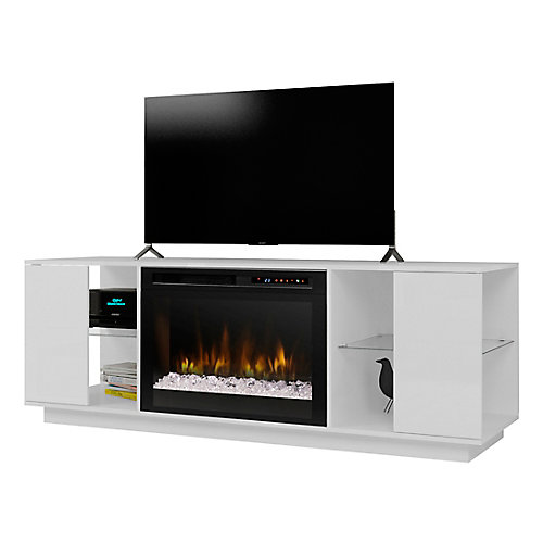 """Flex Lex media console electric fireplace, 26"""" firebox with glass ember bed, white"""