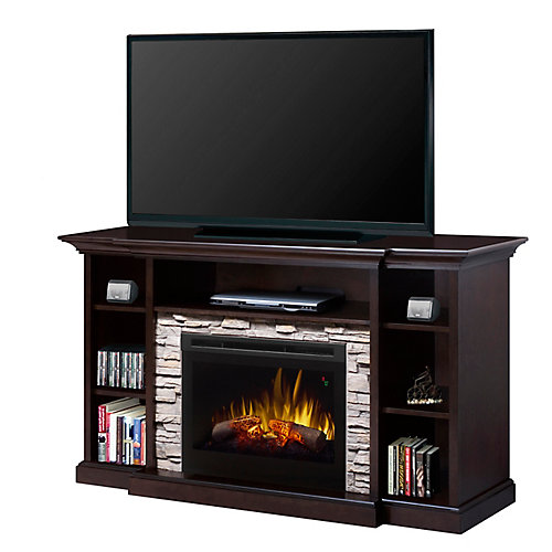 """Courtyard electric fireplace entertainment unit with 25"""" firebox with logs, espresso finish"""