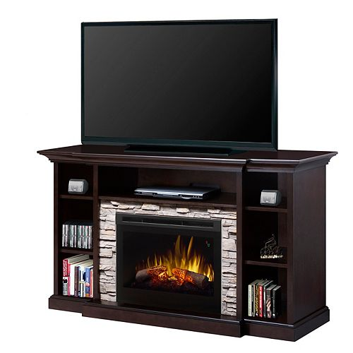 """Dimplex Courtyard electric fireplace entertainment unit with 25"""" firebox with logs, espresso finish"""