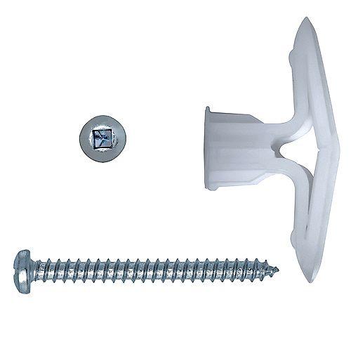Toggler® Chevilles à bascule en plastique pour cloisons sèches de 5/8 po avec vis, 50pcs