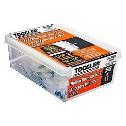 Toggler® Chevilles à bascule en plastique 1/4 po pour cloisons sèches avec vis, 50pcs