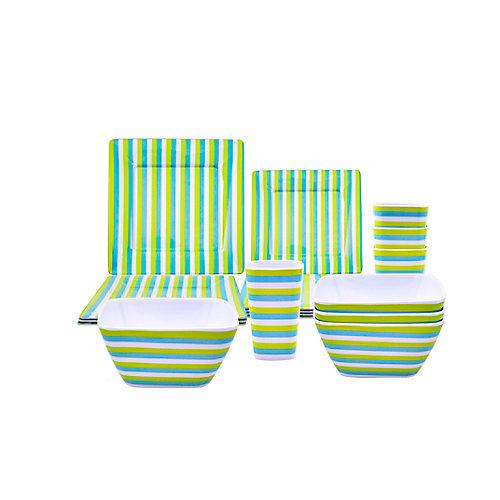 16-Piece Patio Dinnerware Set - Green Stripe