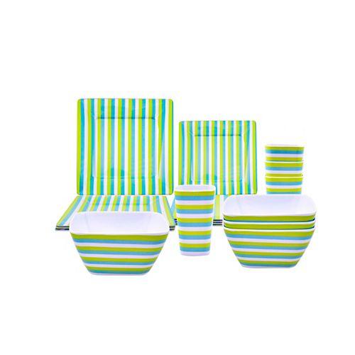 HDG Service de table pour jardin de 16 pièces - Rayure verte