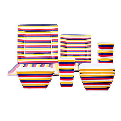 HDG 16-Piece Patio Dinnerware Set - Red Stripe
