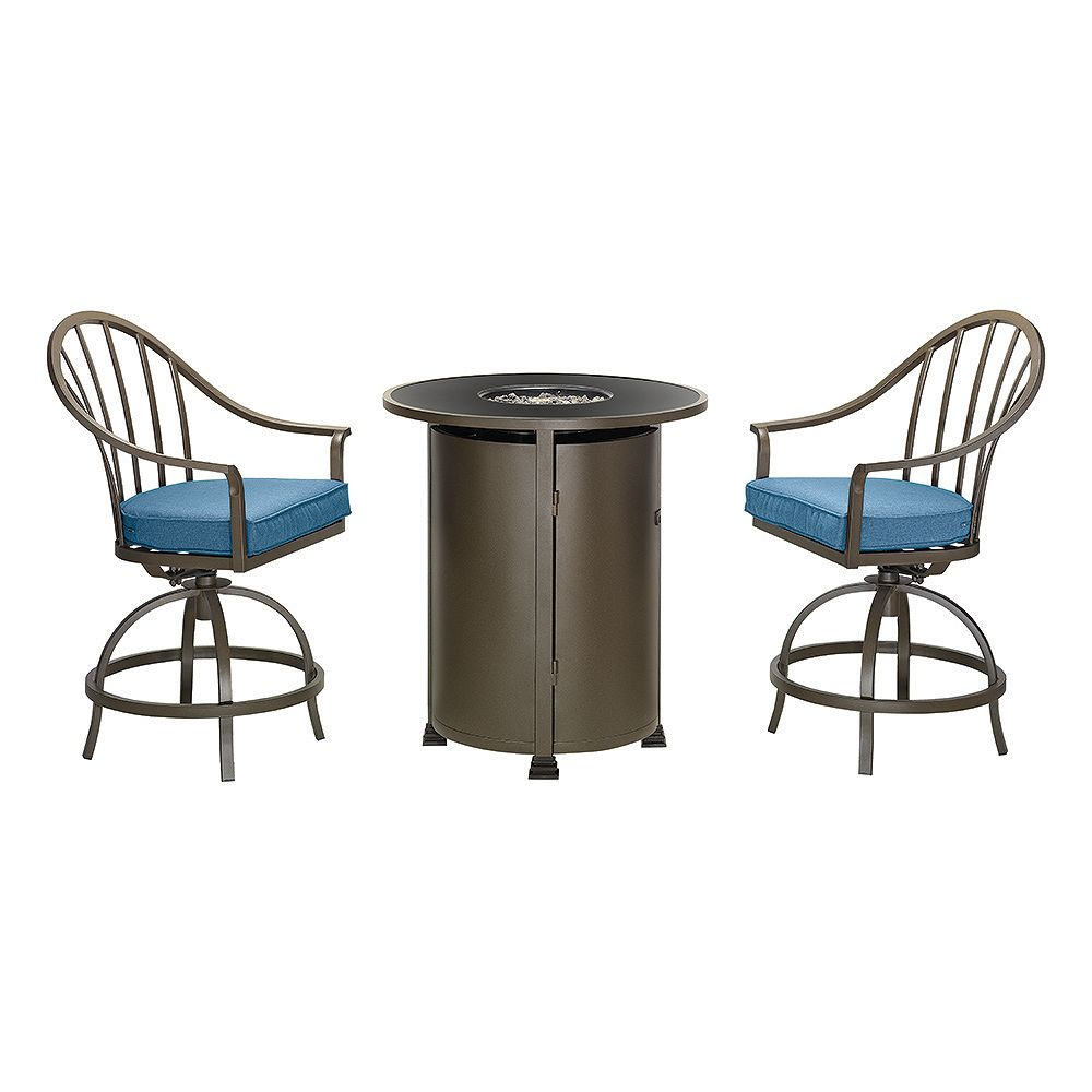 hampton bay 3piece modern high dining fire table set