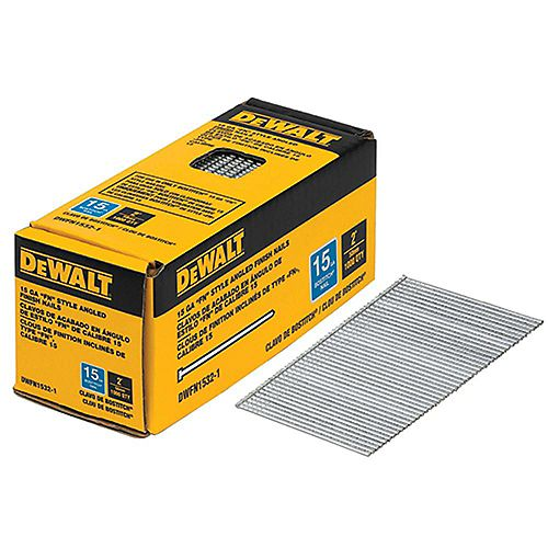 2-inch x 15-Gauge Angled Glue Collated Finish Nails (1,000 per Box)