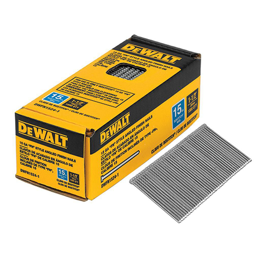 DEWALT 1-1/2 po x 15-Gauge Glue Collated Angled Bright Finish Nails (1,000 par boîte)