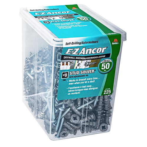 E-Z Ancor® #8 Stud Solver(R) Self-Drilling Drywall Anchor in Zinc with Screw - 225 pcs