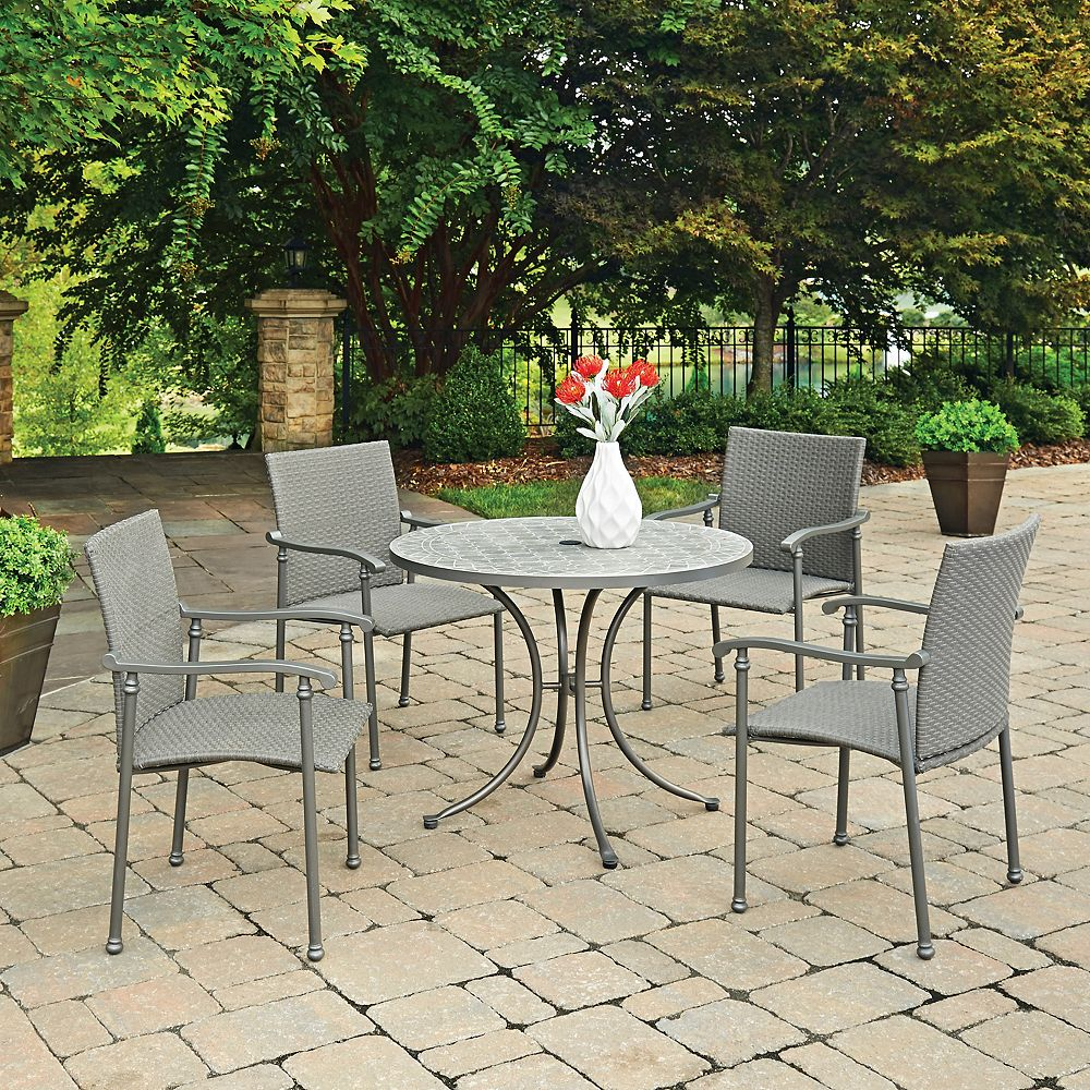Homestyles Umbria Concrete Tile 5-Piece Round Outdoor Table & 4 Chairs