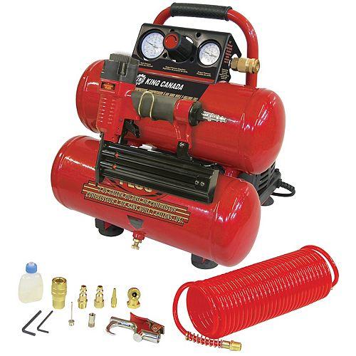 3 Gallon Oil Free Air Compressor & 2 Inch Brad Nailer Kit