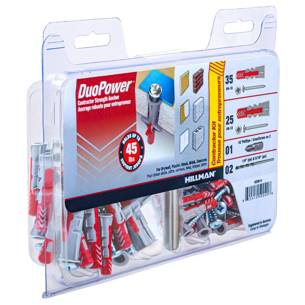 DuoPower #6-10 & #8-12 DuoPower(TM) Contractor Strength Anchor Kit - 60pcs