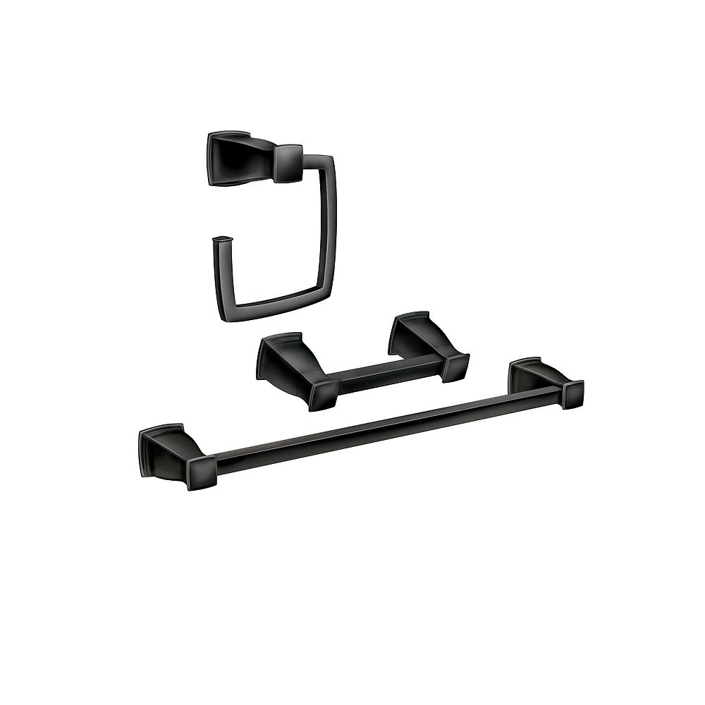 MOEN Hensley 3-Piece Bath Accessory Kit with Press and Mark in Matte Black
