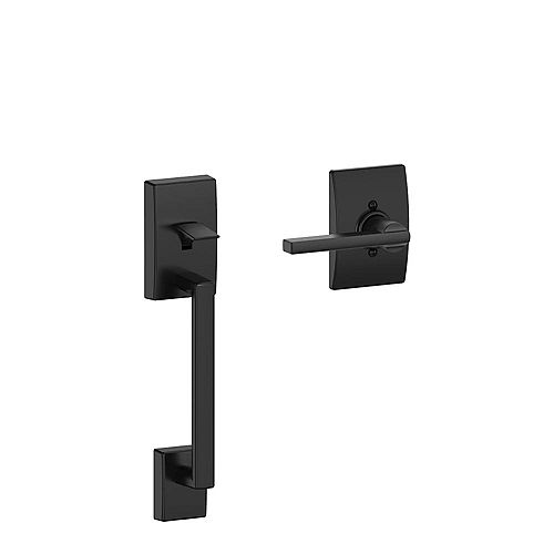 Latitude Matte Black Lower Handleset and Lever with Century Trim