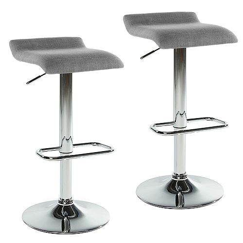 Fabia II Metal Contemporary Backless Armless Bar Stool (Set of 2)