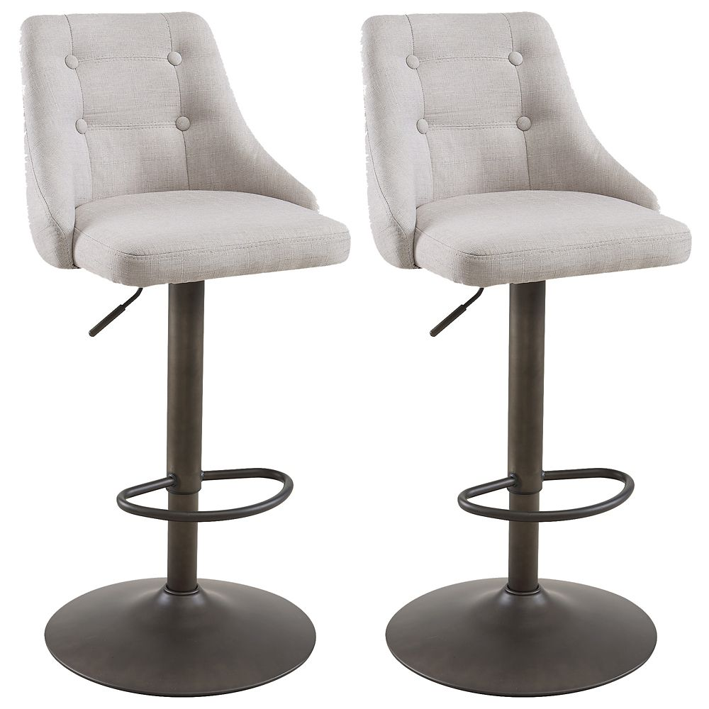 Adyson Metal Contemporary Full Back Armless Bar Stool with Beige Polyester  Seat   Set of 9
