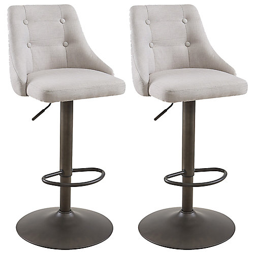 Adyson Metal Contemporary Full Back Armless Bar Stool with Beige Polyester Seat - (Set of 2)
