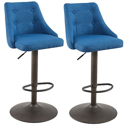 Adyson Metal Contemporary Full Back Armless Bar Stool with Blue Polyester Seat - (Set of 2)