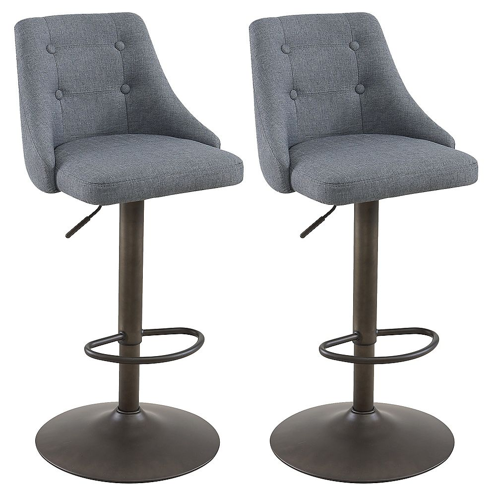 WHI Adyson Metal Contemporary Full Back Armless Bar Stool with Grey Polyester Seat - (Set of 2)