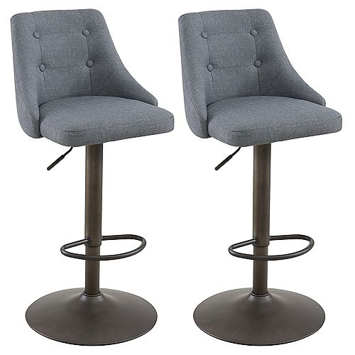 Adyson Metal Contemporary Full Back Armless Bar Stool with Grey Polyester Seat - (Set of 2)