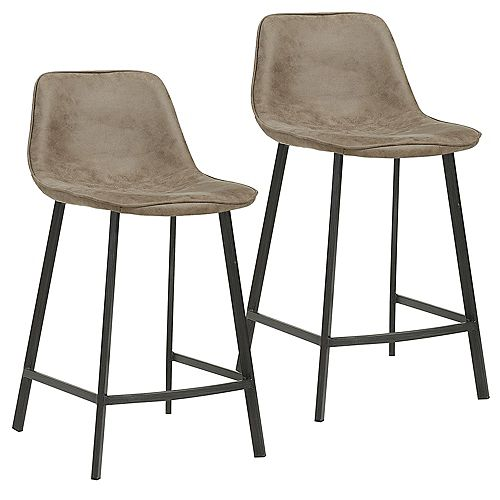 Buren Metal Black Contemporary Full Back Armless Bar Stool with Brown Faux Leather Seat - (Set of 2)