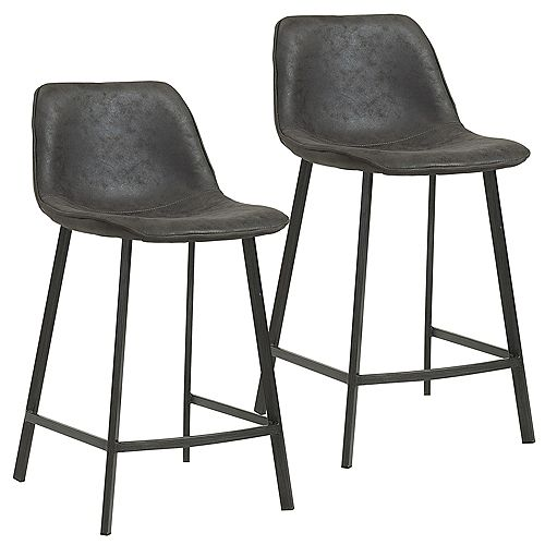 Buren Metal Black Contemporary Full Back Armless Bar Stool with Grey Faux Leather Seat - (Set of 2)