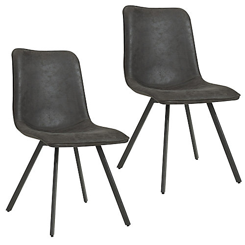 Buren Metal Black Parson Dining Chair with Black Faux Leather Seat - (Set of 2)